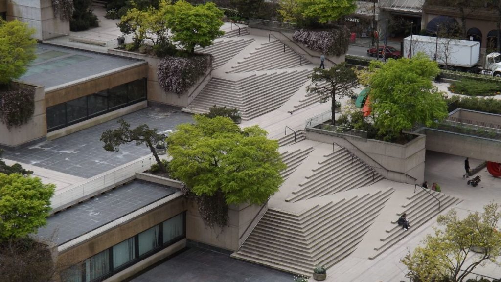 Full view of robsen square stramp. A set of stairs and ramp integrated into one design.
