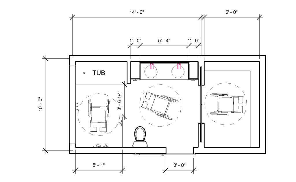 Floorplan of the bathroom.