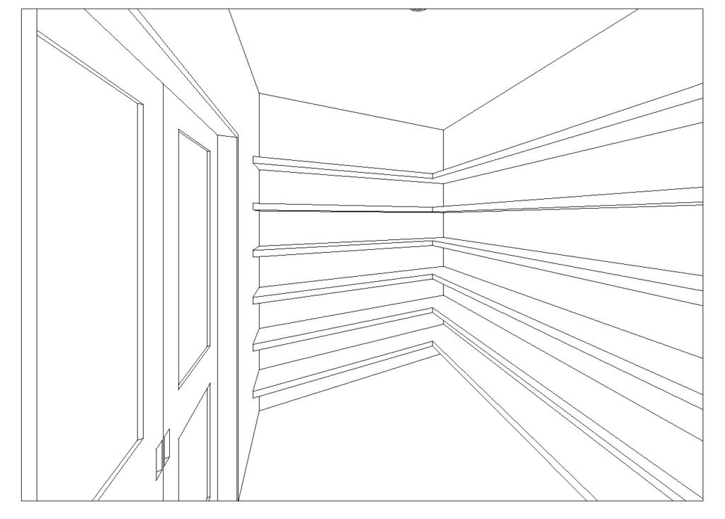 large closet with floor to ceiling shelving